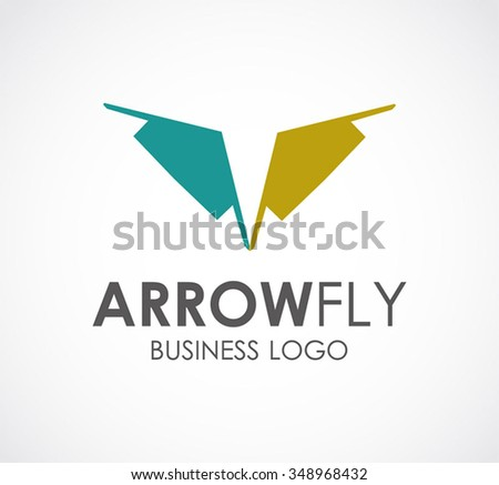 30775af25ddda Wing of flat arrow abstract vector and logo design or template fly finance  business icon of