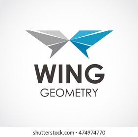 Wing of geometry logo design vector template and abstract symmetric business symbol of company identity Logotype concept icon.