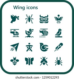 wing icon set. 16 filled wing icons. Simple modern icons about  - Dove, Insect, Owl, Caduceus, Helicopter, Seagull, Bird, Paper plane, Wingsuit, Feather, Bee, Butterfly, Wasp