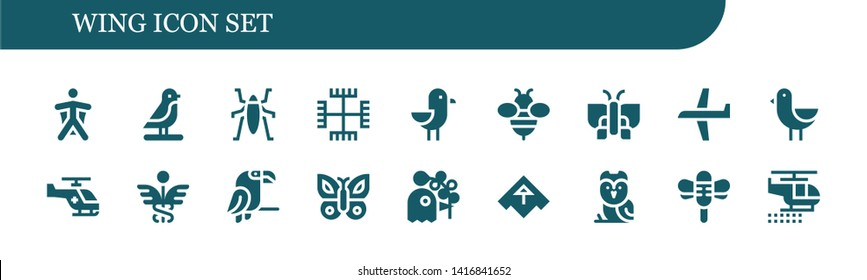 wing icon set. 18 filled wing icons.  Collection Of - Wingsuit, Bird, Insect, Gnosticism, Seagull, Bee, Butterfly, Plane, Helicopter, Caduceus, Parrot, Pigeon, Airplane, Owl, Dragonfly
