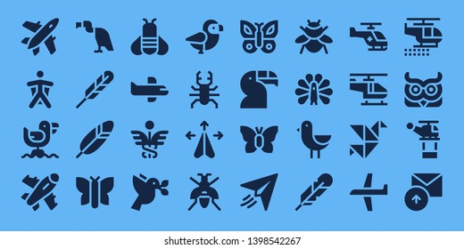 wing icon set. 32 filled wing icons. on blue background style Simple modern icons about  - Plane, Wingsuit, Seagull, Vulture, Feather pen, Feather, Butterfly, Bee, Airplane, Caduceus