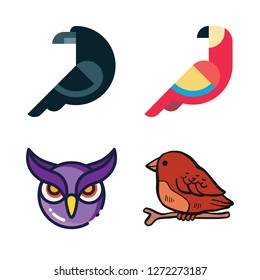wing icon set. vector set about parrot, bird, owl and crow icons set.