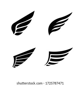 Wing icon set. Set of vector abstract wings. Simple logo or sign design elements.Vector illustration.