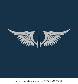 wing icon, wing symbol. Flat vector sign isolated on blue background. Simple vector illustration for graphic and web design.