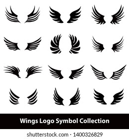 Wing Icon symbol set, Wings symbol template design in black and white vector