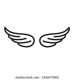 Wing Icon. Vector. black linear illustration on a white background