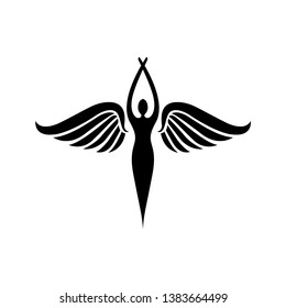 wing logo, fly, and wings logo with silhouette style