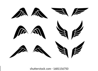 Wing logo. Vector emblem in simple style.