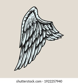 Wing retro tattoo element. Colorful isolated dove, eagle, or angel wing with white feathers vector illustration. Tattoo studio concept for symbols and emblems templates