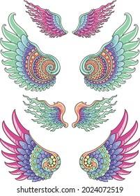 Wing set colorful design for kids illustration