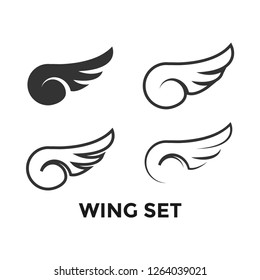 Wing set graphic icon design template isolated