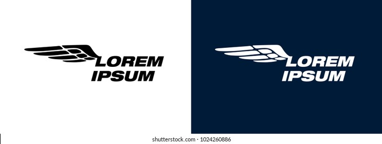Wing sign for company corporate identity black and inversion vector types
