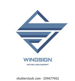 Wing sign - vector logo template concept illustration. Geometric abstract symbol. Design element.