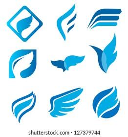 Wing signs. Symbol of lightness, speed, agility
