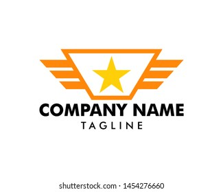 Wing Star Logo Template Design