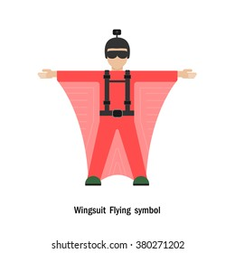 Wing suit Flying.Wing suit flight.Healthcare and sport logo icon concept.Vector illustration