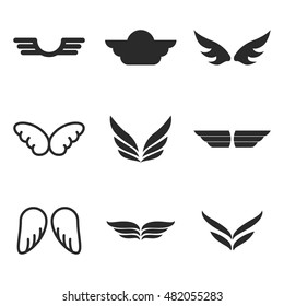 wing vector icons. Simple illustration set of 9 wing sign elements, editable icons, can be used in logo, UI and web design