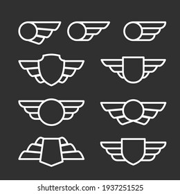 Winged badges and emblems in simple style, blazon with wings, vector