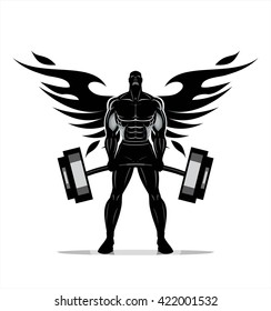 Winged Body builder. Full body Silhouette of Bodybuilder fitness model illustration, Power strength man icon suitable for fitness club, gym, Sport Fitness club creative concept. Fighter. Fighting Club