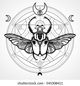 Winged bug. Mystical circle. Esoteric symbol, sacred geometry. Sign of the moon. Monochrome drawing isolated on a white background.  Vector illustration. Print, posters, t-shirt, textiles.