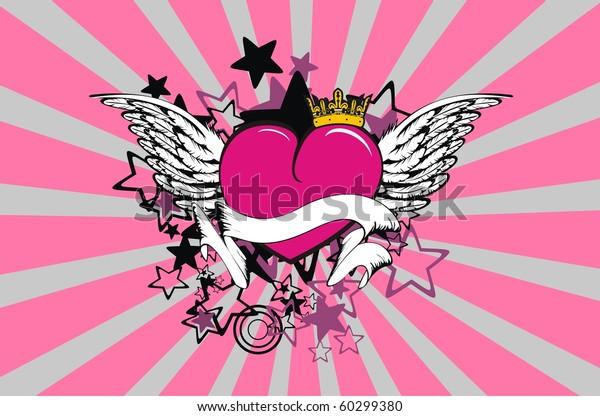 e9a3cecddcf18 Winged Cartoon Heart Wallpaper Vector Format Stock Vector (Royalty ...