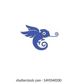 Winged chameleon concept logo design