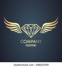 winged diamond gold logo / vector illustration