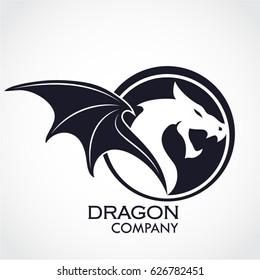 winged dragon circle shape logo