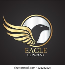 winged eagle bird silver gold logo