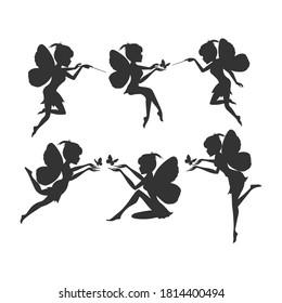 winged fairy silhouette illustration design