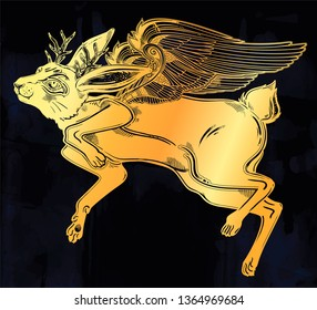 Winged flying magic winged jackalope beast. Ideal vintage folklore creature, tattoo art, boho design. Perfect for print, posters, t-shirts,textiles. Vector illustration.