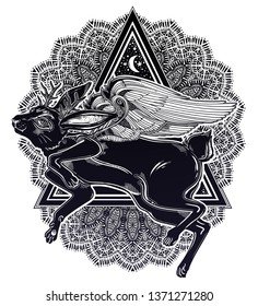 Winged flying magic jackalope beast with ornate triangle frame. Ideal vintage folklore creature, tattoo art, boho design. Perfect for print, posters, t-shirts,textiles. Vector illustration.