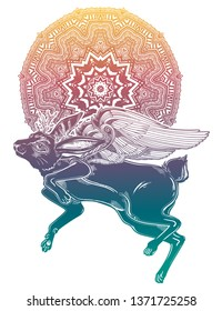 Winged flying magic winged jackalope beast with ornate mandala. Ideal vintage folklore creature, tattoo art, boho design. Perfect for print, posters, t-shirts,textiles. Vector illustration.