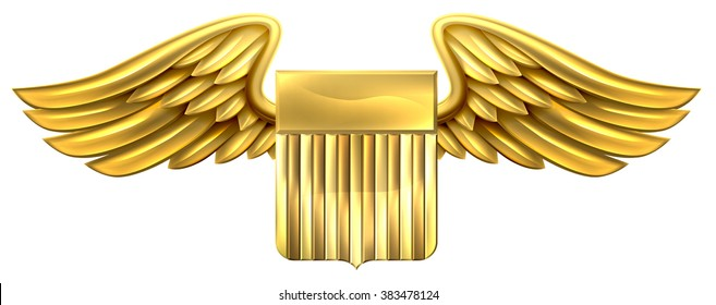 A winged gold golden metallic shield heraldic heraldry coat of arms design with United States flag stripes