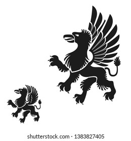 Winged Gryphon, mythical animal ancient emblems elements set. Heraldic vector design elements collection. Retro style label, heraldry logo.