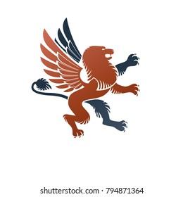 Winged Gryphon, mythical animal ancient emblem element. Heraldic vector design element. Retro style label, heraldry logo.