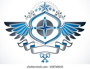 Winged heraldic Coat of Arms, vintage vector emblem created using ancient keys and pentagonal stars