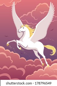 The winged horse Pegasus soaring in the sky. No transparency used. Basic (linear) gradients.