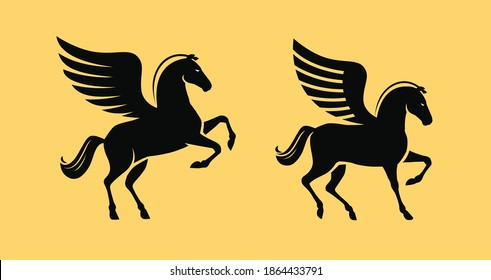 Winged horse symbol. Pegasus vector illustration