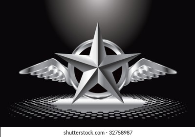 winged icon featuring silver star under spotlight