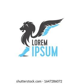 Winged Lion king logo design, premium business template.