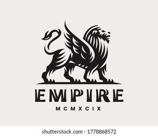 Winged lion modern logo. King heraldic emblem design editable for your business. Vector illustration.