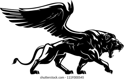 Winged Lion Mythical Creature, Shadowed Illustration