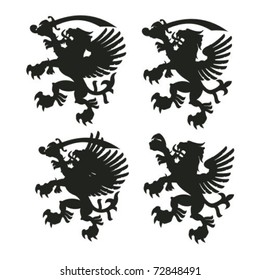 Winged lion silhouettes with sables and without
