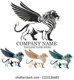Winged Lion vector logo illustration emblem design