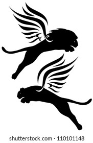winged lions vector silhouettes - black outlines over white