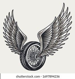 Winged motorcycle wheel template in vintage style isolated vector illustration