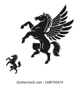 Winged Pegasus and Horse ancient emblems elements set. Heraldic vector design elements collection. Retro style label, heraldry logo.