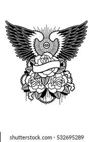 Winged Rose Tattoo Design