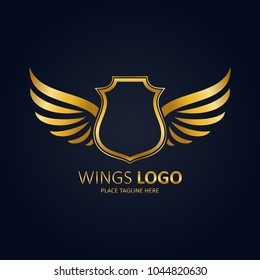 Winged shield gold template